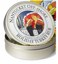 Nantucket Off-Shore Turkey Rub 1.25 oz. Holiday Turkey Rub can effortlessly make your bird taste as picture-perfect as a Norman Rockwell painting,  Savory green rosemary, sage, thyme and oregano pair with zesty dried cranberries, lemon peel and ginger, yielding irresistible aromatic flavor