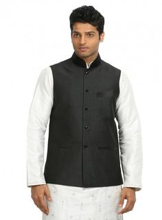 This silk fabric nehru jacket is adorned with black velvet mandarin collar, black button holes & black fancy buttons. Black velvet touch up on chest pocket & front pockets gives a mellowed look. Nehru Jacket For Men, Nehru Jackets, Mandarin Collar Jacket, Modi Jacket, Kinds Of Clothes, Field Jacket, Jackets Online, Clubwear