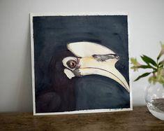 Bird Painting, Hornbill, Bird Watercolor, Flora & Fauna, Wildlife, Watercolor Original, Original Panting, Original Art, Nature Painting