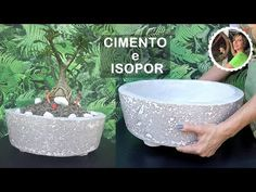 DIY - Amazing technique for making pots: with cement and Styrofoam Cement Art, Cement Crafts, Concrete Art, Clay Crafts, Home Crafts, Diy And Crafts, Wallet Sewing Pattern, Papercrete, Ceramic Texture