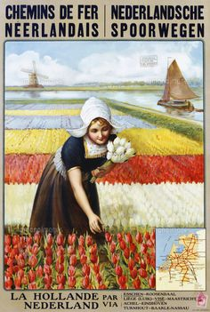 Vintage Railway Poster - La Hollande/The Netherlands.