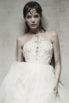 NESEA - French lace bodice embellished with seed beads, pearls and crystals. Soft Italian tulle skirt.