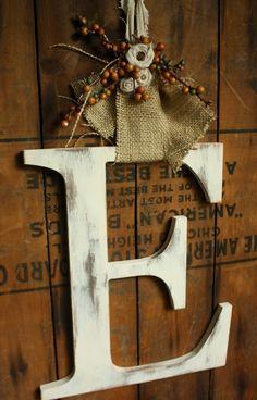 Items similar to Autumn large letter Door Hanger Fall wedding decor-CHOOSE LETTER on Etsy