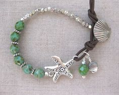 Starfish and Shells - Leather Coastal Bracelet by SeaSide Strands