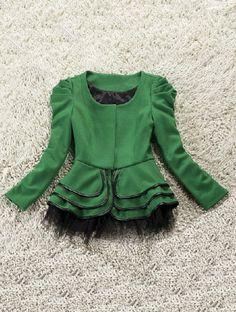 Green Long Sleeve Lace Cascading Ruffle Pleated Coat