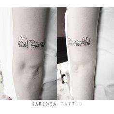 Minimal Elephant Family http://instagram.com/bahadircemtattoo #elephant #elephanttattoo #smalltattoo #minimaltattoo #littletattoo #familytattoo #tattoodesign #tattoo #tattoos #dövme