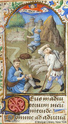 Book of Hours, MS M.1027 fol. 90r - France, perhaps Paris, ca. 1465 - Shepherds: Annunciation