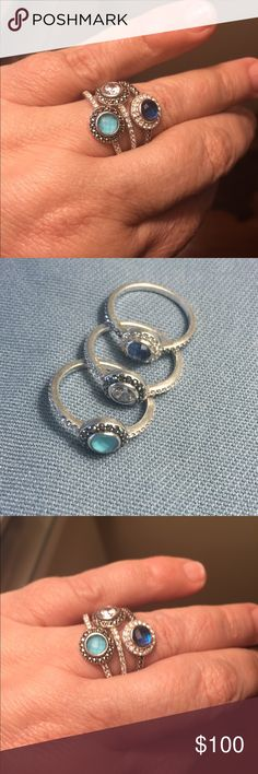 Set of 3 Judith Jack stacking rings size 8 Sterling, marcasite and Swarovski crystal stackable rings size 8.  Lovely set. Judith Jack Jewelry Rings