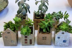 Succulent Planted House Pots: Related Post It's the season for lilacs at Aiken House and . Make Your Own Rope-Wrapped Pots – 110 DIY Ba. Garden buddy made from clay pots Clay Houses, Ceramic Houses, Ceramic Planters, Ceramic Clay, Ceramic Pottery, Cacti And Succulents, Planting Succulents, Clay Projects, Clay Crafts