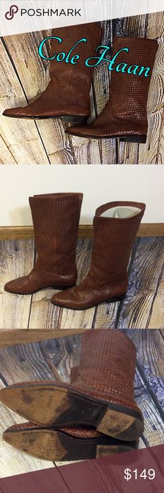 VINTAGE COLE HAAN OPTICAL WEAVE BOOTS These are absolutely stunning boots in fabulous condition and Cole HAAN knew they had something with this unique hand woven design. They are actually bringing it back. 🙀NO TEAR OR DAMAGE TO LEATHER. Cole Haan Shoes Combat & Moto Boots