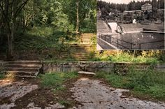 Neuhaus forest pool in the 20s, at the time of its greatest glory and today