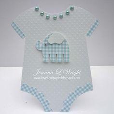 Onesie  Joanna Wright - Onesie shaped card and Elephant shaped card