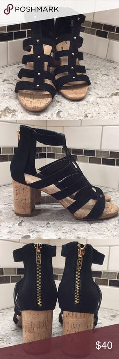 "Aerosoles ""Higher Up"" sandals New in box black suede with gold metal embellishment gladiator style sandals with 3.25 inch block cork heel and back zip closure AEROSOLES Shoes Sandals"