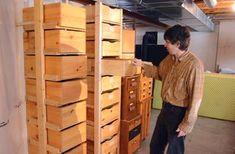 Matthias Wandels 'ladder type' rack for storage boxes. Diy Storage Drawers, Garage Storage Shelves, Lumber Storage, Basement Storage, Storage Rack, Garage Organization, Storage Boxes, Building Shelves, Box Building