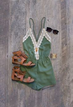 - Details - Size Guide - Model Stats - Contact This romper is the journey of love at its finest! Our Love Quest Lace Romper in olive features a lightweight fabric with a crochet lace detailed, deep V- Mode Outfits, Casual Outfits, Fashion Outfits, Womens Fashion, Fashion Trends, Spring Summer Fashion, Spring Outfits, Cruise Outfits, Vacation Outfits