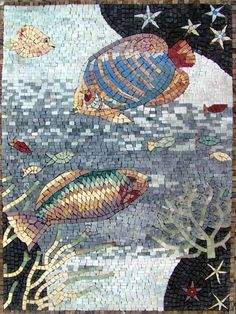 Fish Marble Mosaic Tiles Stone Art Pool Bathroom