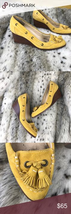 """Cole Haan Nike Air Yellow Suede Tassel Wedge Heels Cole Haan Nike Air Yellow Suede Tassel Boat Loafer Wedge Heels 7.5. Great gently loved condition, no exterior wear. Leather upper, wooden base with rubber sole. Nautical vibe with the mini tassels and rope detail. 2.5"""" heel. Cole Haan Shoes Wedges"""