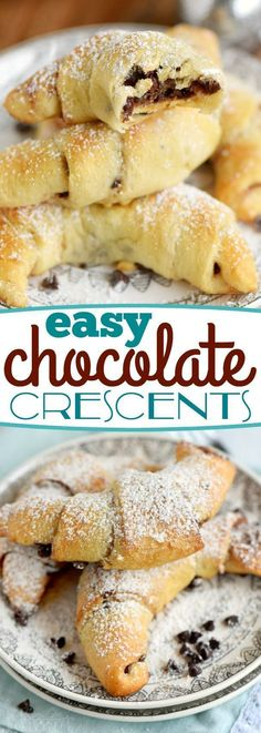 These Easy Chocolate Crescents take just minutes to prepare and use only 4 ingredients! Top with a sweet dusting of powdered sugar and you'll find them hard to resist. Great for breakfast, brunch, or dessert! // Mom On Timeout (easy chocolate desserts) Easy Desserts, Delicious Desserts, Dessert Recipes, Yummy Food, Italian Desserts, Sweet Desserts, Sweets Recipe, Easy Sweets, Trifle Desserts