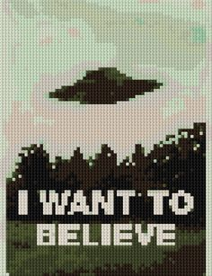 I Want to Believe counted Cross Stitch Pattern UFO by shelleyfaye