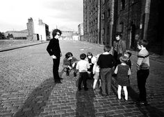 Bob Dylan in Dublin Street, close to the Dock Road on the north docks in Liverpool - 1966