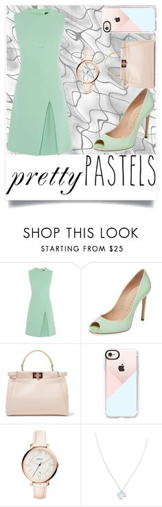 """Minty"" by perezbarrios on Polyvore featuring Casadei, Fendi, Casetify, FOSSIL and Wolf & Moon"
