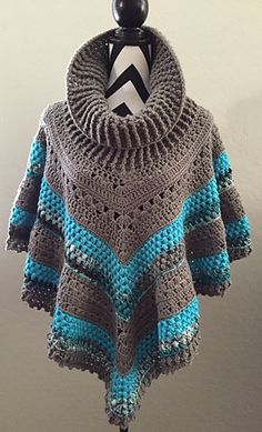 Pinning this so I can send it to my mom who is an awesome crochet artist! Vintage Poncho Crochet Pattern by AndreaCrochetDesign on Etsy Poncho Au Crochet, Mode Crochet, Crochet Poncho Patterns, Crochet Shawls And Wraps, Crochet Jacket, Crochet Scarves, Crochet Clothes, Crochet Stitches, Knitting Patterns
