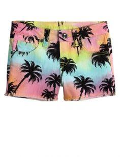 Palm Tree Printed Denim Shorts
