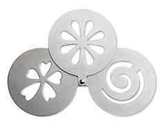 Stampo pieghevole in metallo con tre differenti disegni per decorazioni caffè cappuccini torte . 2.31 IVA Inclusa