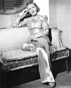 """Jean Arthur wearing harem-inspired pajama (movie """"History Is Made at Night"""" Old Hollywood Movies, Old Hollywood Glamour, Golden Age Of Hollywood, Vintage Hollywood, Hollywood Stars, Classic Hollywood, Vintage Glamour, Hollywood Actresses, Mae West"""