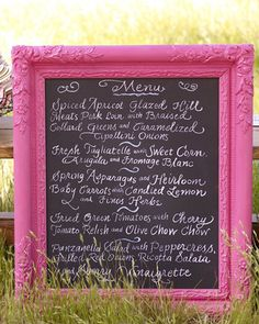 not gonna lie- loving the idea of a painted frame around the chalkboard menu. Goodwill trip? And what color paint?