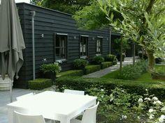 Anne Laansma - black weatherboard exterior and parterre garden Small Gardens, Outdoor Gardens, Outdoor Rooms, Outdoor Living, Garden Studio, Black House, Exterior Paint, Garden Inspiration, Landscape Design