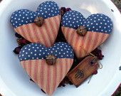 Primitive Americana heart bowl fillers prim ornie