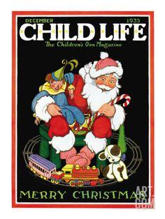 Santa & the Toys - Child Life, December 1935 Giclee Print