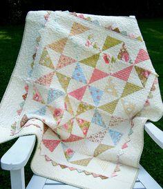 Heirloom Baby Quilt Pinwheels and Prairie Points via Etsy