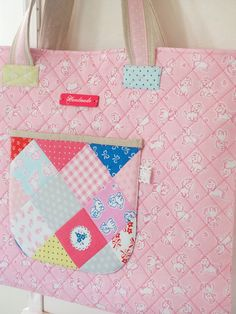 Quilted Tote Bag made with Elea Lutz' Strawberry Biscuit fabric line #ilovepennyrose #fabricismyfun