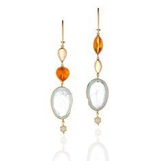 Earrings in 14k gold with fire and Ethiopian opal by Zaiken