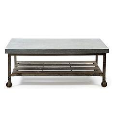 vintage industrial reclaimed wood metal coffee table cart