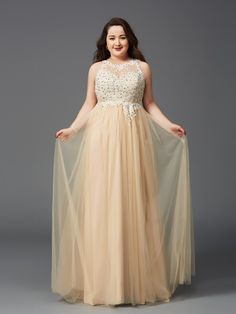 A-Line/Princess Scoop Sleeveless Floor-Length Rhinestone Net Plus Size Dresses - Plus Size Prom Dresses - Prom Dresses - VickyProm Plus Size Long Dresses, Grad Dresses Long, Sequin Prom Dresses, Evening Dresses Plus Size, Cheap Prom Dresses, Net Dresses, Tunic Dresses, Ivory Dresses, Long Sleeve Short Dress