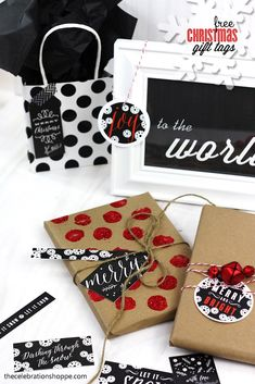 black, white & red chalkboard Christmas gift tags - free download & personalize in file before printing | Kim Byers