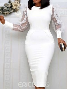 Round Neck Long Sleeve Mid-Calf Stringy Selvedge Party/Cocktail Womens Dress We always strive to provide our customers with high quality products at a competitive price and catered to their explicit needs. Sheer Dress, Bodycon Dress, Dress Long, White Dress, Day Dresses, Dresses With Sleeves, Midi Dresses, Prom Dresses, Look Formal