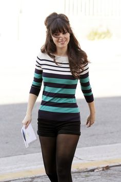 Ok I'm on a Zooey Deschanel kick...saw this outfit in the last episode of new girl. Shorts with tights? I see this all the time at Stanford...I may try it out!