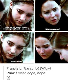 Lol haha funny pics / pictures / Hunger Games Humor / Willow / Prim / Katniss / Peeta / Catching Fire: The Script, Hunger Games, Thescript, Funny, Hungergames, Funnies, Agree, Fandoms