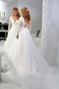 Modest Lace Wedding Dresses Deep V Neck Long Sleeves Hollow Sexy Back Plus Size Bridal Gowns Arabic Church Wedding Gown 2015 Top Selling Wedding Wedding Dresses A Line Short Wedding Dresses From Marrysa, $146.28| Dhgate.Com