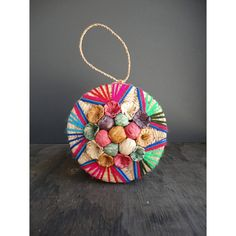 Mexican Raffia Sewing Basket with Colorful Flowers and Star