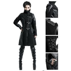 Alternative Black Cyber Punk Goth Long Jackets Coats
