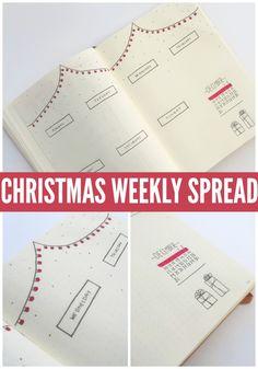 CHRISTMAS bullet journal WEEKLY SPREAD