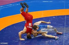 Istvan Levai (red) of Slovakia and Denys Dem'Yankov (blue) of Ukraine compete in the Men's Wrestling 66kg Greco Roman bronze final during day two of the Baku 2015 European Games at Heydar Aliyev Arena on June 14, 2015 in Baku, Azerbaijan.