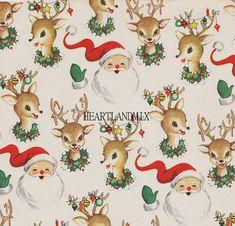 Santa and Reindeer Vintage Christmas Paper Digital Image Wallpaper Download Printable