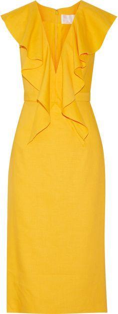 Cushnie et Ochs: draped linen-blend dress. Casual Dresses, Short Dresses, Fashion Dresses, Dresses For Work, Pretty Dresses, Beautiful Dresses, Yellow Fashion, Mode Style, Dress Patterns