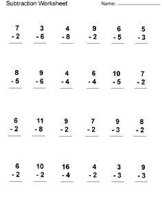 Worksheets For 1st Grade Subtraction Printable